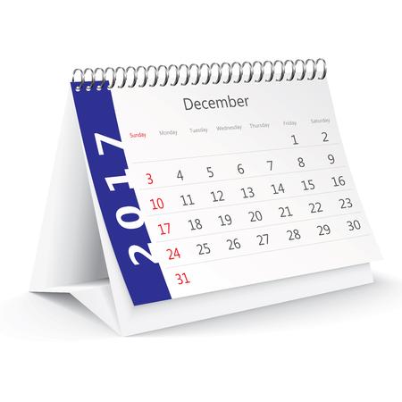 december: December 2017 desk calendar - illustration