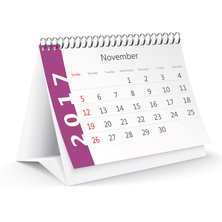 desk calendar: November 2017 desk calendar - illustration