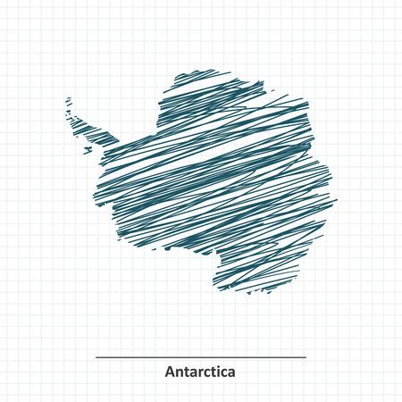 antarctica: Doodle sketch of Antarctica map - illustration Illustration