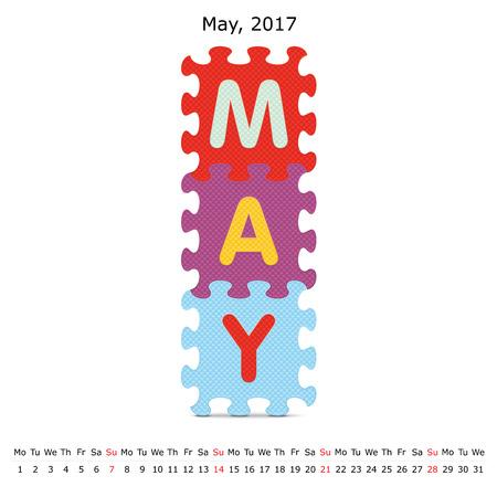 May 2017 puzzle calendar -  illustration Illustration