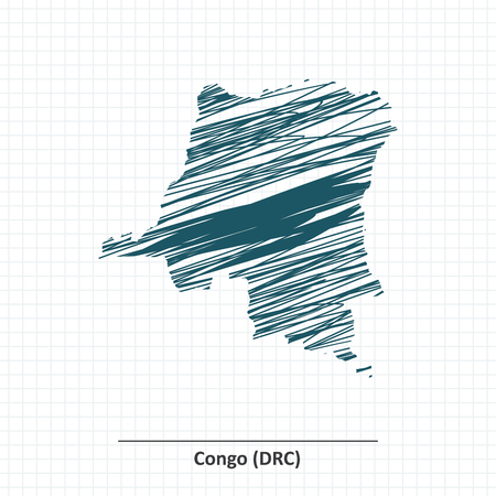 shilouette: Doodle sketch of Democratic Republic of the Congo map - vector illustration