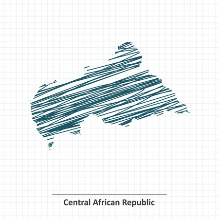 central african republic: Doodle sketch of Central African Republic map - vector illustration Illustration