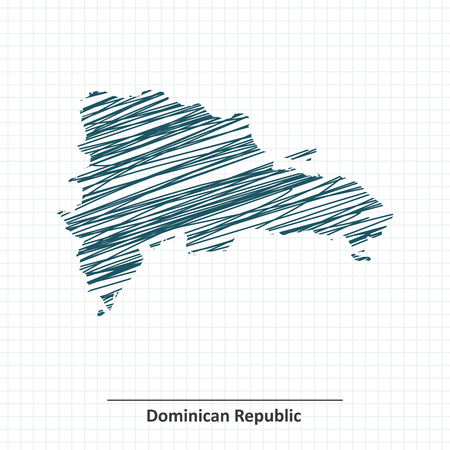 Doodle sketch of Dominican Republic map - vector illustration