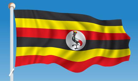 Vlag van Oeganda - vectorillustratie