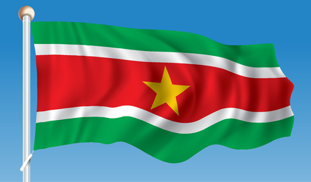 Suriname: Flag of Suriname - vector illustration