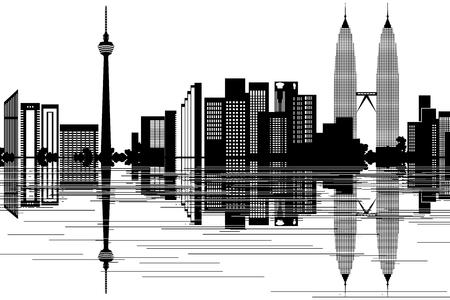 Horizonte de Kuala Lumpur - ilustración vectorial blanco y negro
