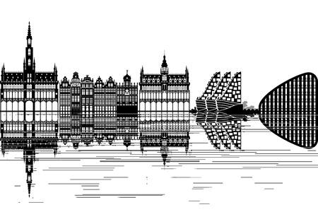 Brussel skyline - zwart-witte vector illustratie