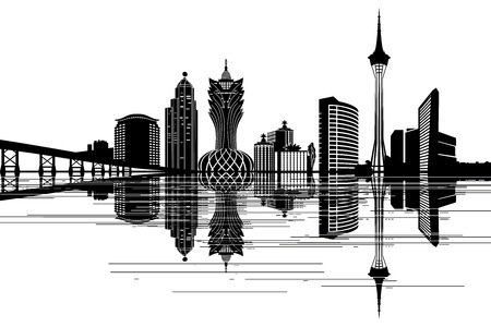 Macau skyline - black and white vector illustration