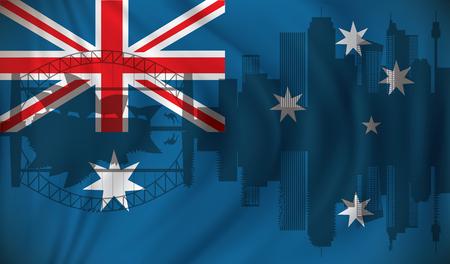 sydney skyline: Flag of Australia with Sydney skyline - vector illustration Illustration
