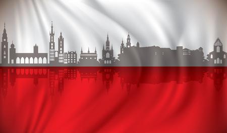 Flag of Poland with Krakow skyline - vector illustration