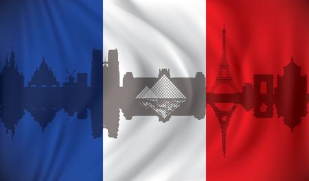 Flag of France with Paris skyline - vector illustration