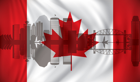 vancouver city: Flag with Vancouver skyline - vector illustration
