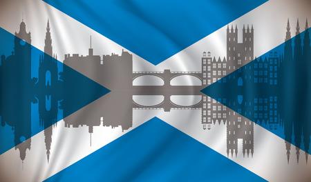 Flag of Scotland with Edinburgh skyline - vector illustration