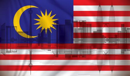 Flag of Malaysia with Kuala Lumpur skyline - vector illustration Ilustração
