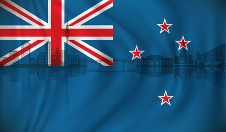 Flag of New Zealand with Auckland skyline - vector illustration