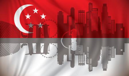 Flag with skyline - vector illustration