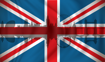 london tower bridge: Flag of United Kingdom with London skyline - vector illustration