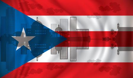 Flag of Puerto Rico with San Juan skyline - vector illustration