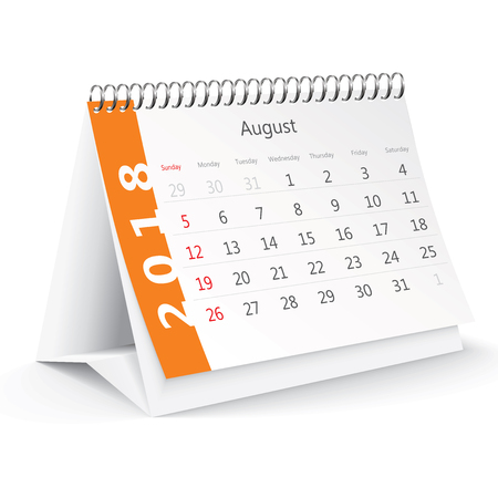 August 2018 desk calendar - vector illustration Illustration