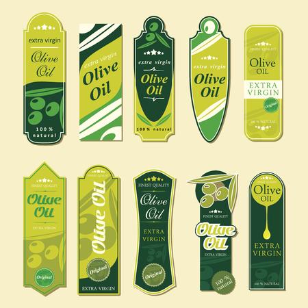 Olive Oil Labels - vector illustration Ilustração