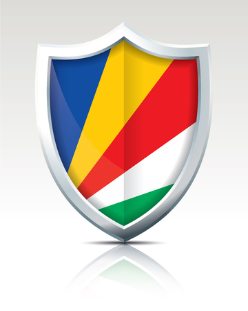 Shield with Flag of Seychelles - vector illustration