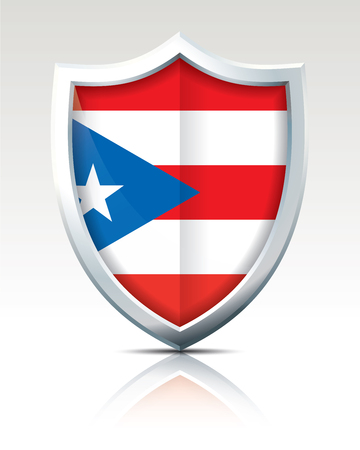 Shield with Flag of Puerto Rico illustration.