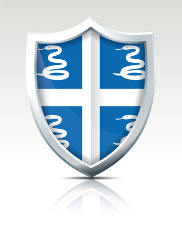 Shield with Flag of Martinique illustration.