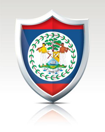 Shield with Flag of Belize - vector illustration