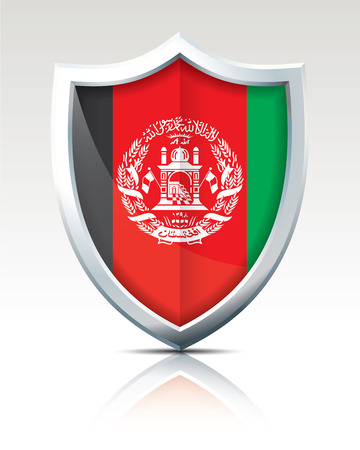 Shield with Flag of Afghanistan - vector illustration