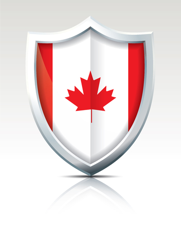 Shield with Flag of Canada illustration. Illustration