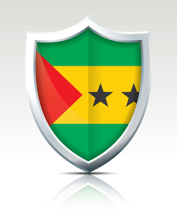 Shield with Flag of Sao Tome and Principe - vector illustration