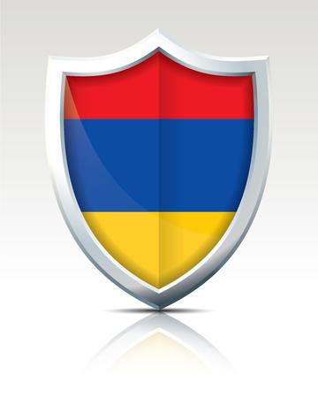 Shield with Flag of Armenia - vector illustration