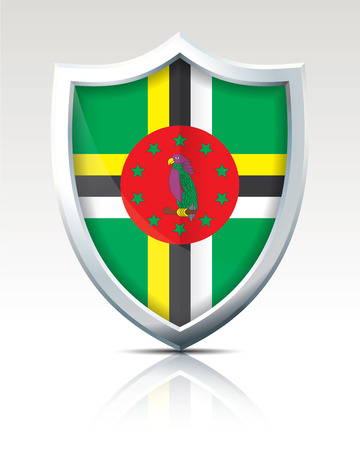Shield with Flag of Dominica illustration.