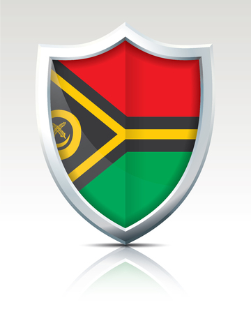 Shield with Flag of Vanuatu - vector illustration
