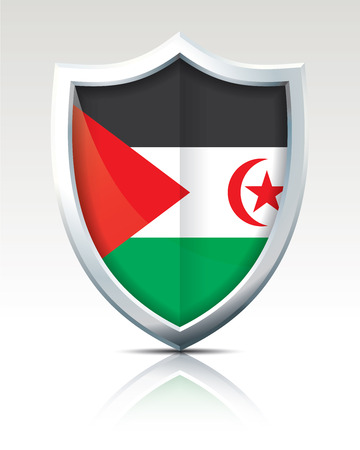 Shield with Flag of Western Sahara - vector illustration