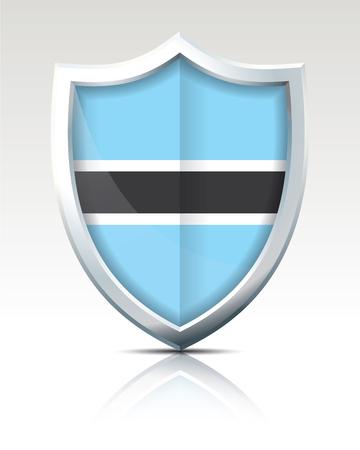 Shield with Flag of Botswana - vector illustration