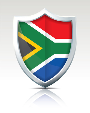 Shield with Flag of South Africa illustration.