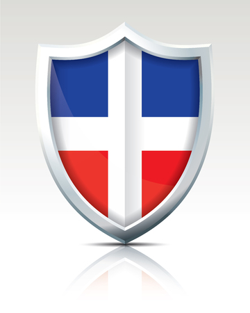 Shield with Flag of Dominican Republic illustration. Banco de Imagens - 92336811