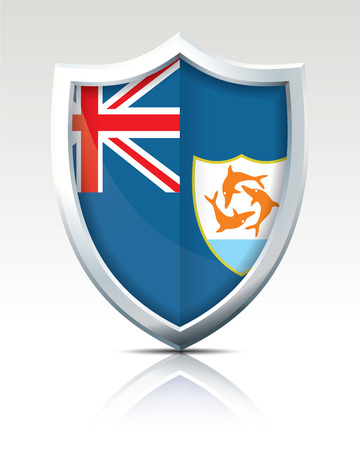 Shield with Flag of Anguilla vector illustration