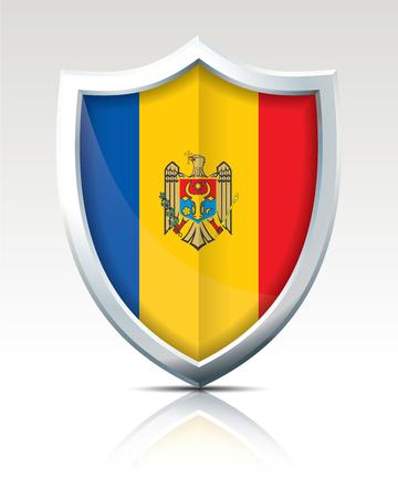 Escudo con la ilustración de vector de bandera de Moldavia