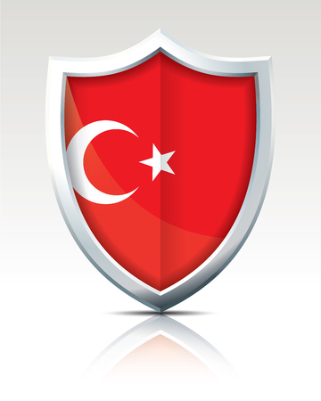 Shield with Flag of Turkey vector illustration