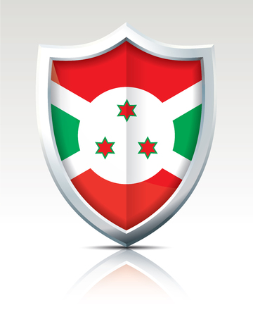Shield with Flag of Burundi vector illustration Çizim