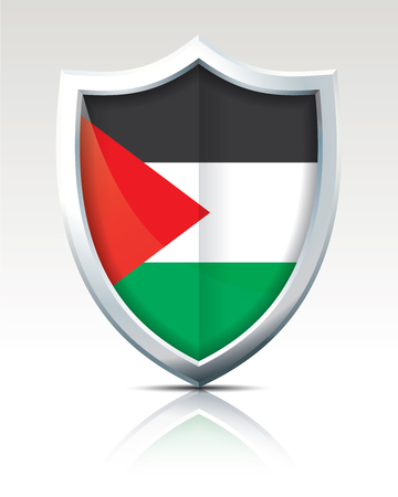 Shield with Flag of West Bank vector illustration