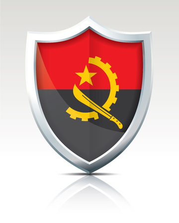 Shield with Flag of Angola - vector illustration