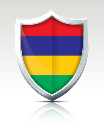 Shield with Flag of Mauritius vector illustration Illustration