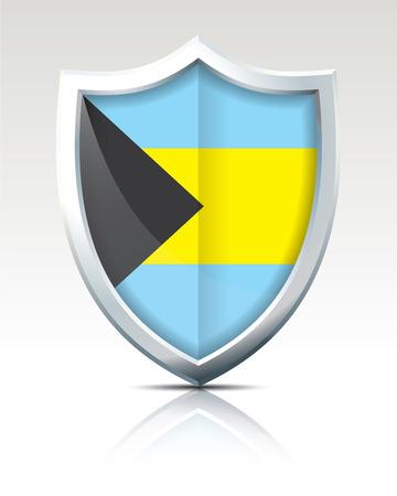 Shield with Flag of Bahamas vector illustration Illustration