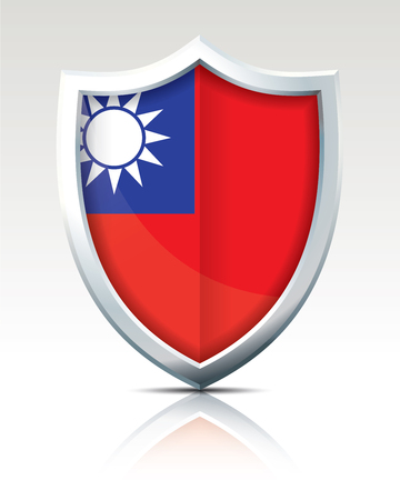 Shield with Flag of Taiwan vector illustration. Ilustração