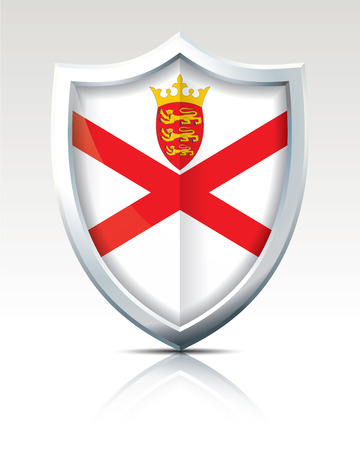 Shield with Flag of Jersey vector illustration. Illustration