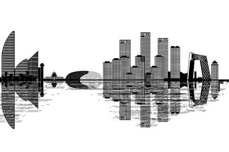 Beijing skyline - black and white vector illustration Vector Illustration