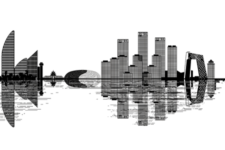 Skyline von Peking - Schwarz-Weiß-Vektor-Illustration Vektorgrafik
